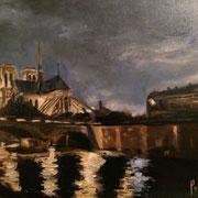Notre Dame, réalisé pour le tournage des Parisiennes - Huile 65*50