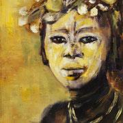 Femme fleurie - Huile sur toile, 33*24 - Vendu