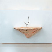 枯れ木を生けるⅡ( arrange the dead treeⅡ)/2012/W19×D10×H11㎝/ 陶土、釉薬、枯れ木( earthenware,glaze,dead tree)