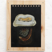 S病院 (S hospital )/ 2016 /W15×D4×H20㎝/水彩、土、木、アクリル板(water color,mud,wooden board,acrylic)  photo by Takeru Koroda