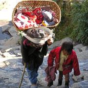 Statt Kinderwagen, beachte den kleinen Fuss im Korb.