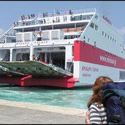 """Auf Korfu gehen wir an Bord der Fähre """"Ariadne Palace"""" . In den Abendstunden werden wir Patras erreichen."""