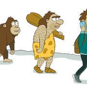 Illustratie uit 'Hoe bedenk je het!', informatief boek, tekst Bas Rompa, Uitgeverij Zwijsen
