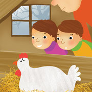 Illustratie uit voorleesboek 'Flo en Viktor en de dieren', geschreven door Aag Vernelen, Uitgeverij Zwijsen