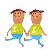 Illustratie 'Tweelingen' bij horoscoop 'Ook! magazine'