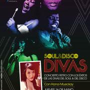 Soul&Disco Divas, concierto retro con Hanoi Mueckay. Diseño: Eduardo Correa