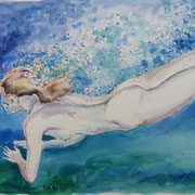 Wasserfrau6, Mixmedia 29 x 39 cm