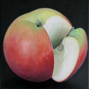an apple a day 4, Ölfarbe auf LW,  20 x 20 cm