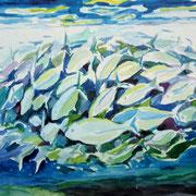 Makrelen, Aquarell 12 x 18 cm