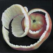 an apple a day 10, Ölfarbe auf LW,  20 x 20 cm