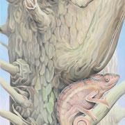 Chamäleon 3, Öl a. Leinwand, 120 x 40 cm