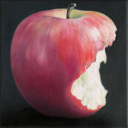 an apple a day 3, Ölfarbe auf LW,  20 x 20 cm