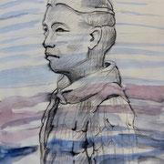 Seebühnenfigur1, Skizze1, Stift,  Aquarell, 19 x 13