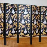 Paravent (Back)  Chamäleon oder Les Ménines, Stoffdruck, Holzrahmen, 156 x 240 cm