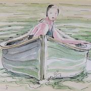 Bootskizze1, Stift,  Aquarell, 19 x 13