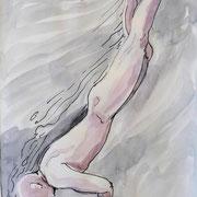 Schwimmskizze2, Stift,  Aquarell, 19 x 13