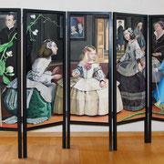 Paravent (Front)  Chamäleon oder Les Ménines,  Öl a. LW, Holzrahmen,  156 x 240 cm