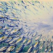 Schwarm3, Aquarell 12 x 128 cm