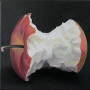 an apple a day 2, Ölfarbe auf LW,  20 x 20 cm