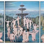 Jungbrunnen, Ölfarbe auf LW, dreiteilig, gesamt: 120 x 220 cm