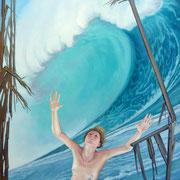 Schiffbruch, Ölfarbe a. LW,  140 x 100 cm