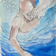 Schwimmskizze1, Stift,  Aquarell, 19 x 13