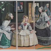 Das Chamäleon oder Les Ménines, Ölfarbe a. LW 5- teilig, je 40 x 120 cm