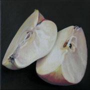 an apple a day 7, Ölfarbe auf LW,  20 x 20 cm