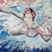 Schwimmskizze3, Stift,  Aquarell, 19 x 13