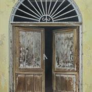 italienische Tür, Öl a. Leiwand, 75 x 100 cm