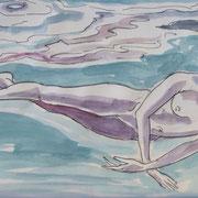 Schwimmskizze4, Stift,  Aquarell, 19 x 13