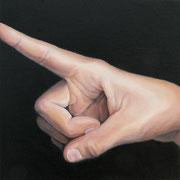Pointing, Ölfarbe auf LW,  20 x 20 cm