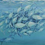 Makrelen, Ölfarbe/Texturpaste a.LW, 80 x 100 cm