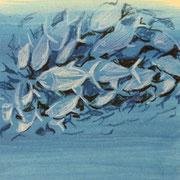 Schwarm2, Aquarell, 12 x 18 cm