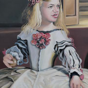 Das Chamäleon oder Les Ménines, Teil 3, Ölfarbe a. LW, 40 x 120 cm