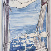 Unterwasserskizze2, Stift,  Aquarell 19 x 13