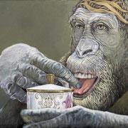 Gib den Affen Zucker, Ölfarbe a.LW, 96 x 155 cm