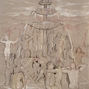 Skizze 7 Jungbrunnen  100 x 100 cm, Collage