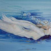 Wasserfrau1, Mixmedia 29 x 39 cm