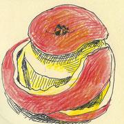 apple7, pencil, 9 x 9 cm