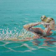Schwimmen, Pastell, 29 x 39 cm