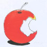 apple 3, prin/ink, 25 x 15 cm