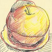 apple6, pencil, 9 x 9 cm