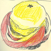 apple8, pencil, 9 x 9 cm