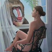 am Fenster, Ölfarbe auf LW,  150 x 80 cm