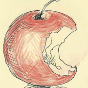 apple2, pencil, 9 x 9 cm