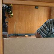 parete posteriore con specchio camper laika.By ballabioiltappezziere.com