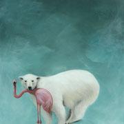 Der Eisbär, der einem Flamingo aus dem Wasser half (90x60)