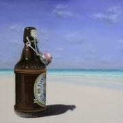 Ein Flensburger (80x100) / Flens Flasche am Strand