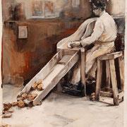 Perlentaucher, 2014, Öl auf Holz, 38 x 27 cm